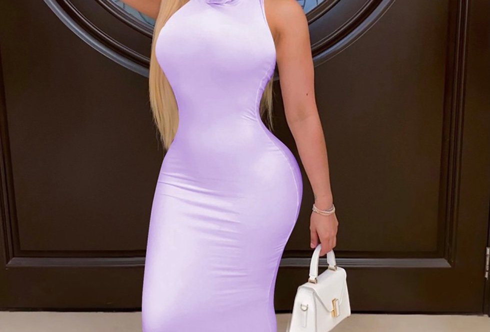 Purple two piece long dress with mask