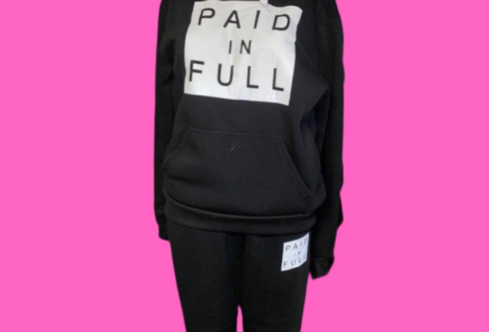 Paid in Full Women Pullover Hoodie Pockets Sweatpants Sport Jogger Sweatsuit