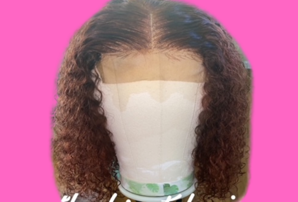 16 inch Brazilian lace front wig dyed ginger