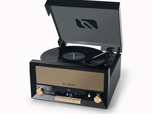 MUSE MT-110B Giradischi Vintage con Altoparlanti USB Radio Lettore CD Bluetooth