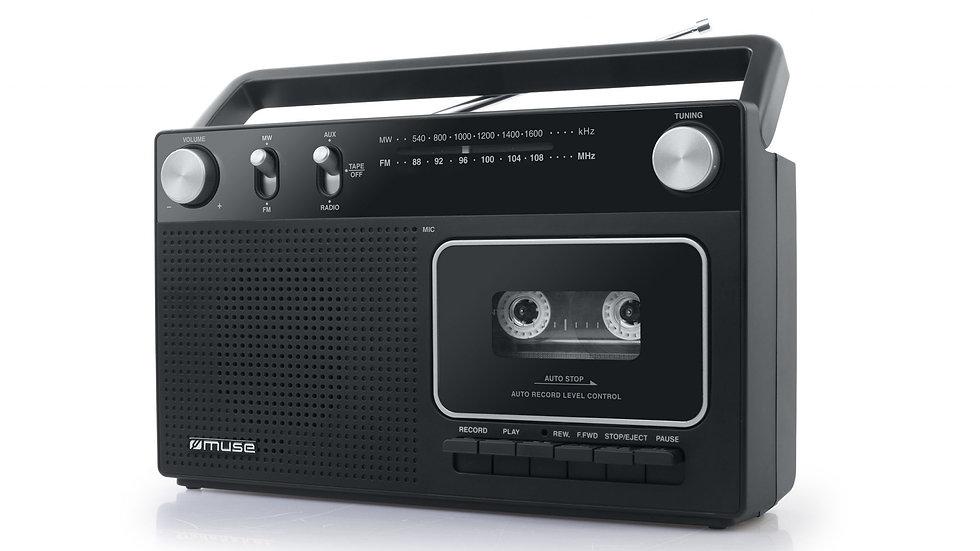 MUSE M-152 RC Radioregistratore Cassette Retrò Microfono Aux-In Pile/Corrente