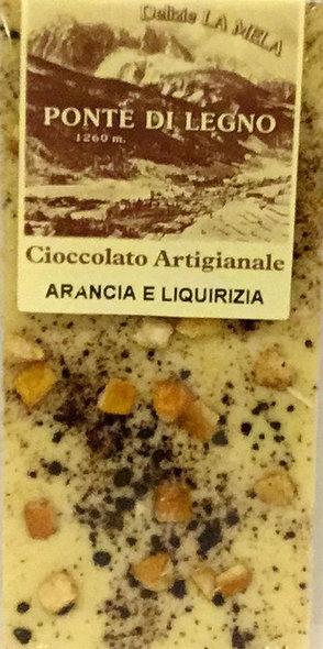 Cioccolato LIQUIRIZIA ARANCIA bianca 100 Gr.