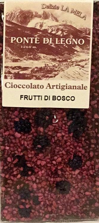 Cioccolato FRUTTI DI BOSCO fondente 100 Gr.