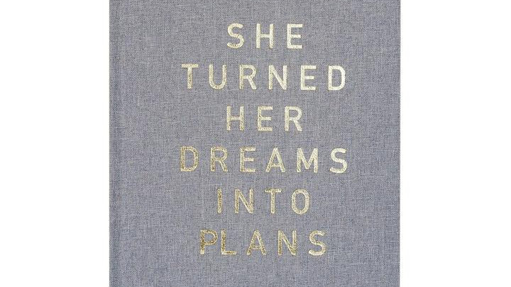She Turned Her Dreams Into Plans, Cool Grey and Gold Fabric Journal