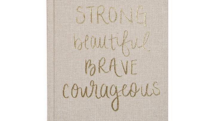 Strong Beautiful Brave Courageous, Tan and Gold Fabric Journal