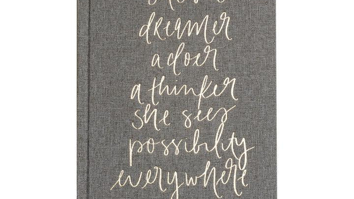 She's a Dreamer, Warm Grey and Gold Fabric Journal