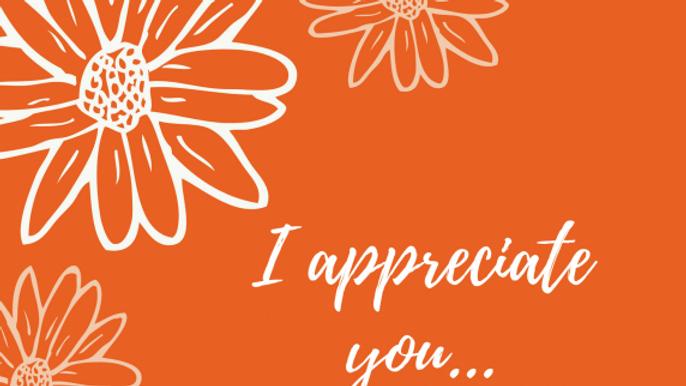 {Note Cards} I Appreciate You