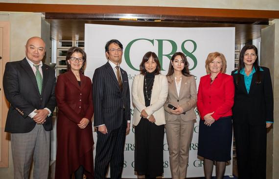Dr. Shunji Mitsuyoshi, H.E. Ms. Lina Annab, Mr. Hiro Mizuno, Ms. Yumiko Murakami, Ms. Sakiko Yamada, H.E. Mrs. Tatiana Iosiper and Ms. Narcisa Pheres (L-R).  Picture Credit: David Schneider