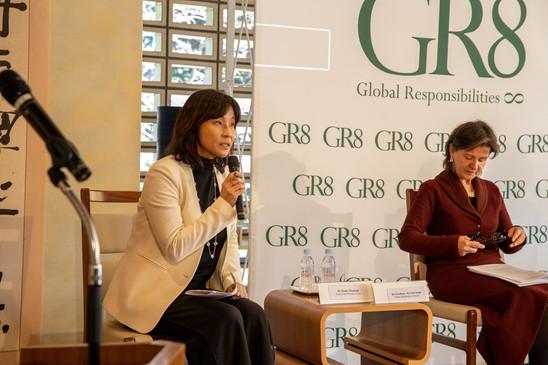 Panel moderator, Ms. Yumiko Murakami - Head of OECD Tokyo Centre & H.E. Ms. Lina Annab - Jordan Ambassador to Japan.   Picture Credit: David Schneider