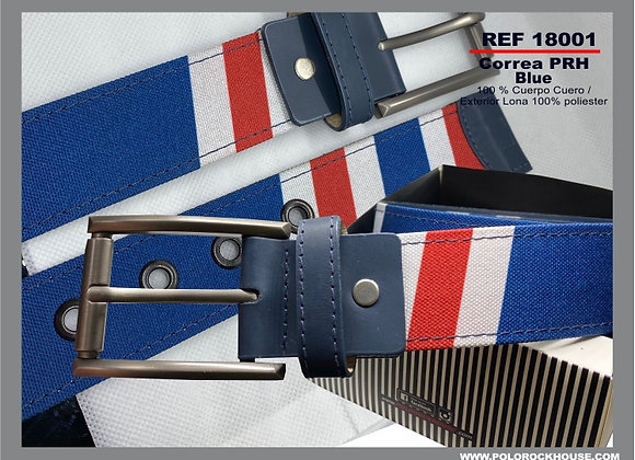 Belt with leather Blue