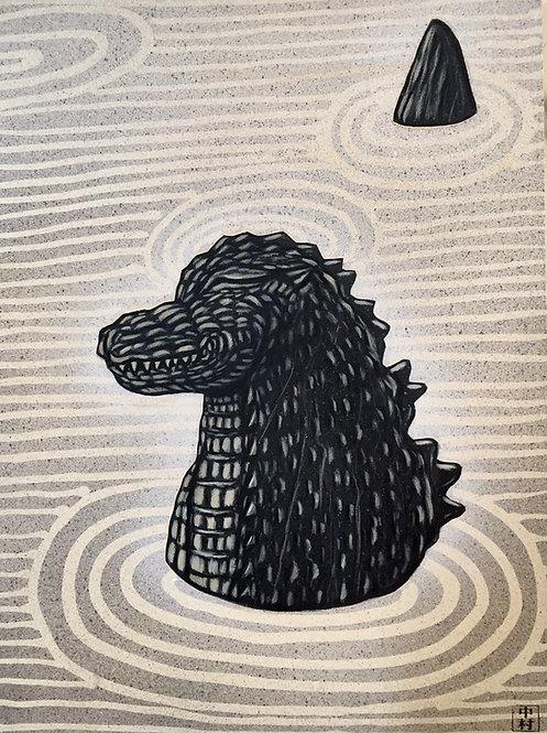 Godzilla Zen Garden original art
