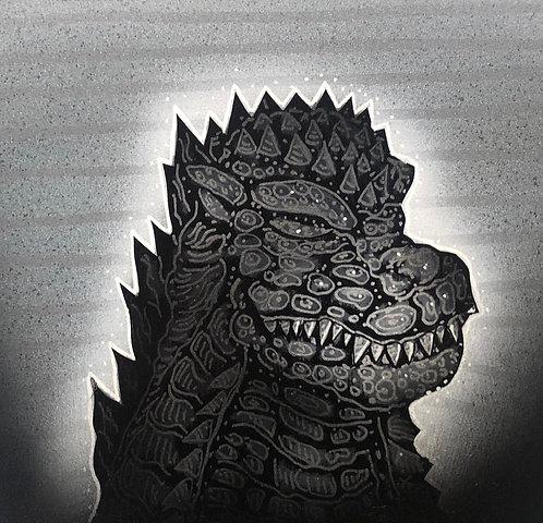 Small original painting. Godzilla meditation