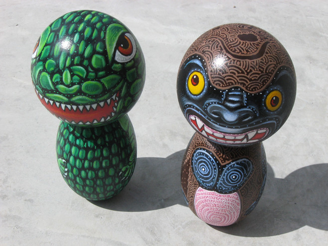 Godzilla and King Kong Kokeshi dolls