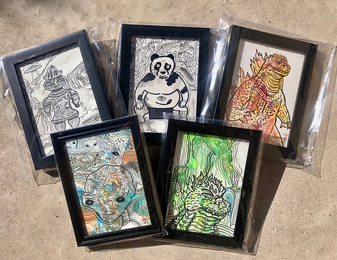 Original framed drawings/ Blind Draw