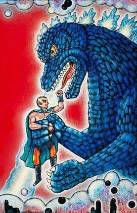 Wrestler and Godzilla