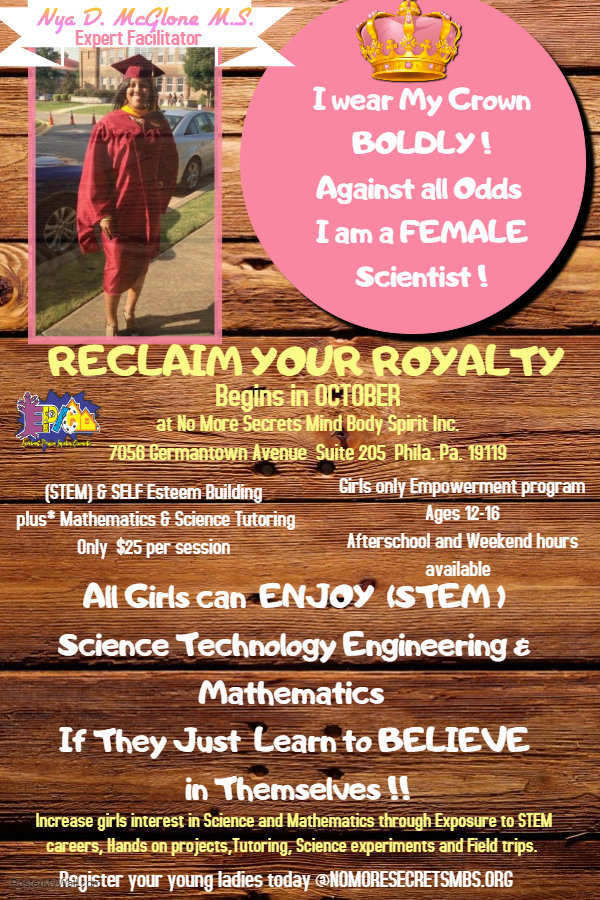 Reclaim your Royalty Female flyer youth.