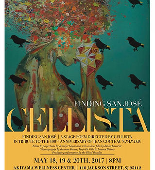 Poster for San Jose with semi abstracted figure and bird graphics