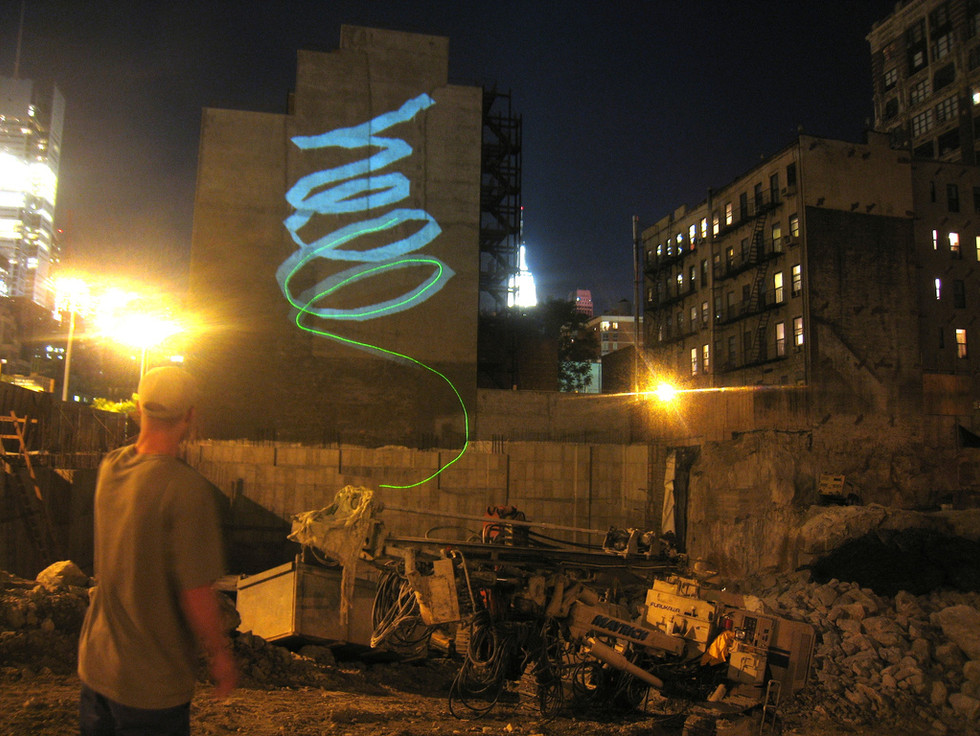 The graffiti artist HELL writing his name in Hell's Kitchen, NYC.