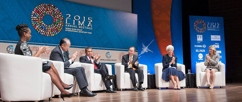 Femi Oke moderating at the 2015 World Bank Group, International Monetary Fund Annual Meetings in Lima, Peru