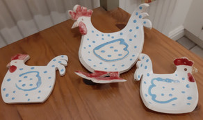 Chicken teabag rest and spoon rests