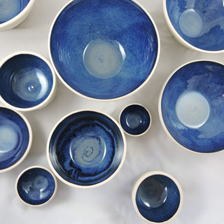Top view chun blue glazed bowls