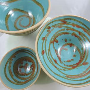 Turquoise with metalic swirls