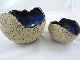 Chun glazed coil bowls