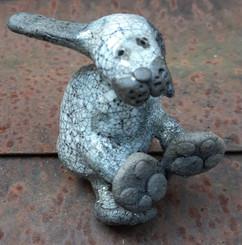 Small Raku hare sitting
