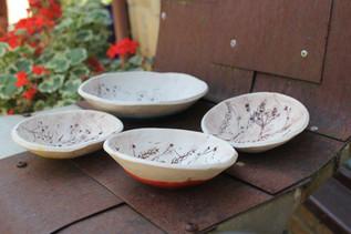 leaf imprinted dishes