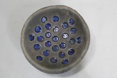 Raku blue spot dish