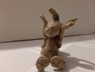 Hare with knapsack  sitting