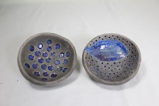2 Raku blue dishes
