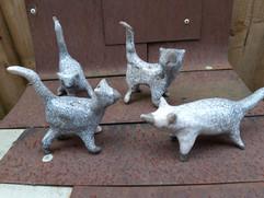 Small raku cats and fox
