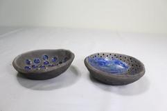 2 Rakudishes  with blue glaze