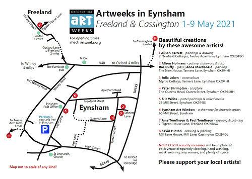 Eynsham area Artweeks artists map 2021be