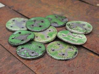 Green raku buttons