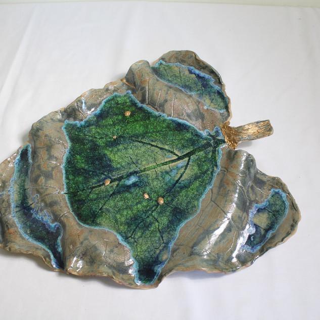 glass leaf platter
