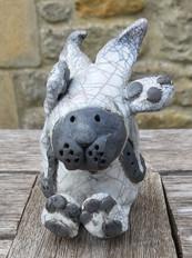 Raku Hare with Knapsack
