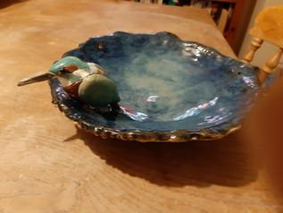 Kingfisher coiled birdbath