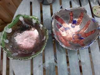 Raku coiled bowls