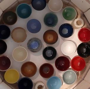 Glaze colours all in little pots