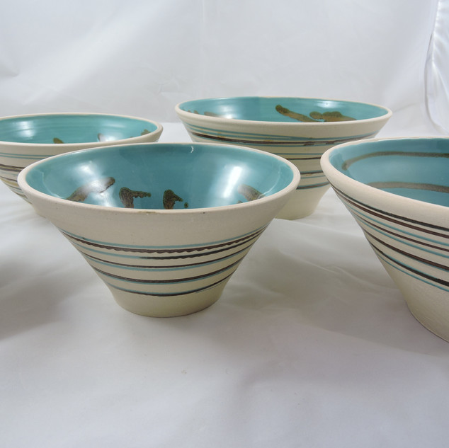 Turquoise bowls side view