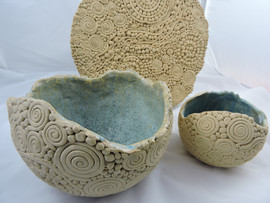 coiled bowls and platter
