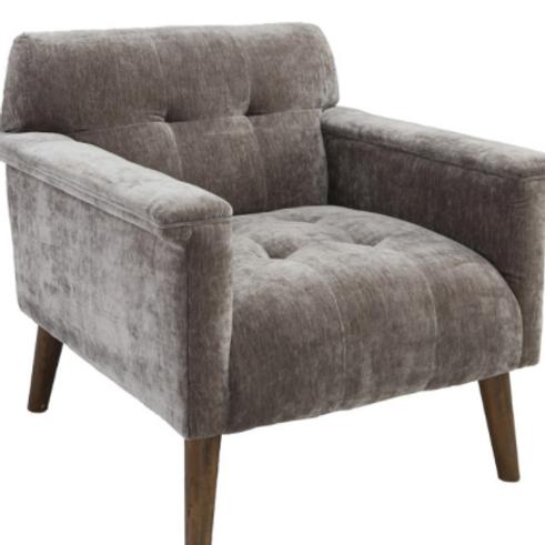 Gray Velvet Accent Chair