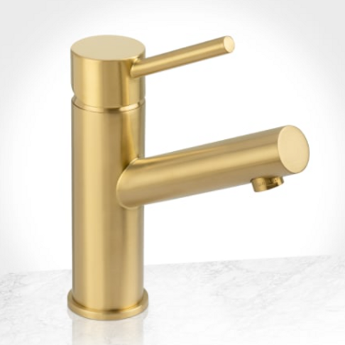 Single Hole Lever Faucet in Brushed Gold