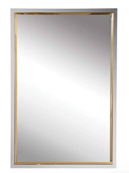 "20"" wide x 30"" tall silver and gold mirror"
