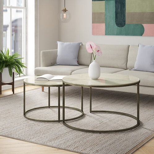 2 Piece Stone & Metal Coffee Table