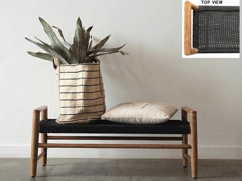 Teak Wood + Woven Cotton Bench