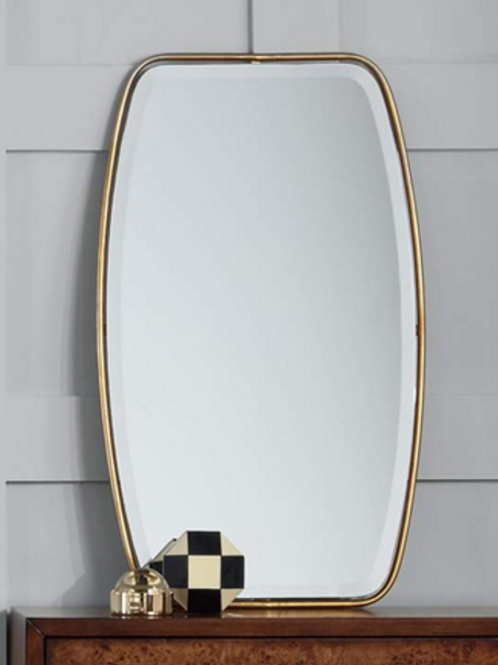 """21"""" wide x 36"""" tall """"floating"""" mirror in gold"""