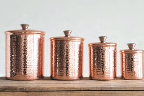 Hammered Copper Finish Canister Set